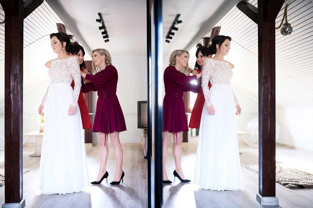 druhny zapinają suknię ślubną panny młodej